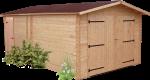 Garage madriers douglas massif bois Français / 28 mm / Toit double pente couverture plaques ondulées Onduline / 20,98 m2